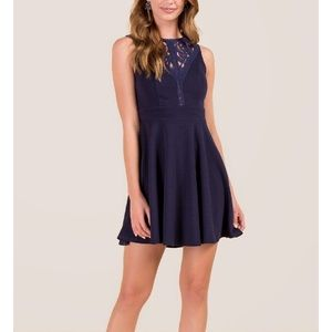 CROCHET NECK A-LINE DRESS